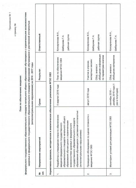 План  по обеспечению введения ФГОС нач.общего образования обучающихся с ограниченными возможностями здоровья и ФГОС образования с умственной отсталостью на 2016-2017 годы.